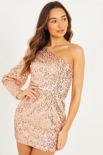 Champagne One Shoulder Sequin Dress